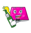 With beer trapezoid mascot cartoon style