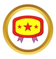 Yellow badge with three stars icon vector image