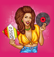 young woman with disco vinyl record pop art vector image vector image