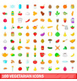 100 vegetarian icons set cartoon style vector image
