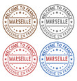 welcome to marseille france colored ink stamps vector image