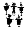 a set of silhouettes of scarecrows collection of vector image vector image