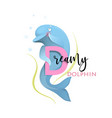 abc alphabet for kids dreamy dolphin for letter d vector image