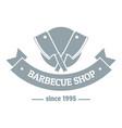 barbecue shop logo simple gray style vector image vector image