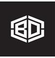 bd logo monogram with hexagon shape and piece vector image vector image
