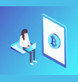 bitcoin woman with laptop vector image vector image