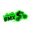 bmx street racer emblem logo in grunge style vector image