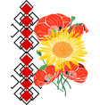 bouquet of sunflowers and red blossoming poppies vector image