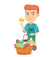 boy holding a cupcake and stroking his belly vector image vector image