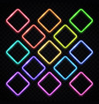 colorful square neon frames set vintage rhombus vector image vector image
