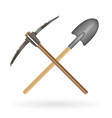 cross shovel and pickaxe logo on a white vector image