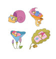 cute cartoon sleeping gnomes forest elves vector image vector image