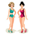 cute girls in swimsuit vector image vector image