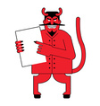 Devil and contract Scary Mephistopheles offers vector image