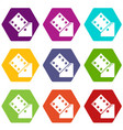 dice icons set 9 vector image