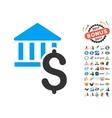 Dollar Bank Icon With 2017 Year Bonus Symbols vector image vector image