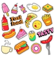 Fast Food Badges Patches Stickers vector image vector image