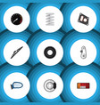 flat icon auto set of gasket windshield vector image vector image