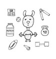 funny lama the athlete with a bar and sports vector image vector image