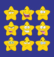 funny yellow star character collection - 2 vector image vector image