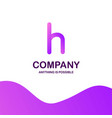 h company logo design with purple theme vector image