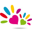 hand with heart symbol vector image