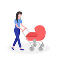 happy mother with a bacarriage vector image