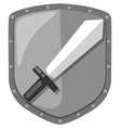 isolated sword shield logo vector image