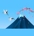 japanese cranes fuji mountain and sakura vector image vector image