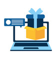 laptop with gift isolated icon vector image