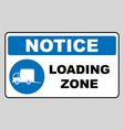 loading zone sign isolated on vector image vector image