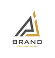 logo design initials pj vector image vector image