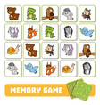memory game for children cards with forest animals vector image vector image