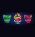 mexican hot food logo in neon style neon sign vector image vector image
