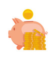 piggy bank with coin icon saving or vector image vector image
