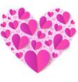 Pink cutout paper hearts vector image vector image