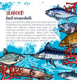 poster for seafood or fish food products vector image vector image