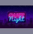 quiz night announcement poster design vector image