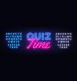 quiz time neon sign pub design vector image vector image