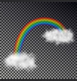 rainbow arc with white clouds isolated on checkere vector image vector image