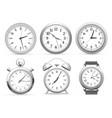 realistic clocks wall round clock alarm and vector image vector image