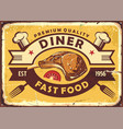 retro diner sign with lamb steak vector image vector image