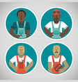 round portraits of workers set vector image vector image