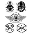 set of 5 vintage biker on white background 2 vector image vector image