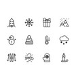 simple set symbols winter season line icon vector image vector image
