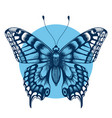 tattoo butterfly in blue circleimmortality symbol vector image