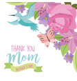 thank you mom mothers day fly bird and butterfly vector image