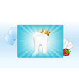 Tooth In Crown And Chewing Gum vector image vector image