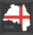 tyne and wear map england uk with english vector image vector image