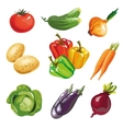 Vegetable set cartoon hand drawn collection vector image vector image